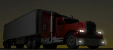 Camion rouge de style américain la nuit Semi camion avec la remorque de cargaison rendu 3d illustration stock