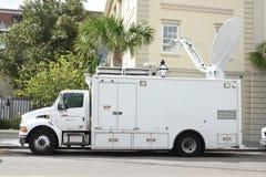 Camion satellite de CNN, Charleston, la Caroline du Sud photographie stock libre de droits