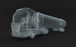 Camion semi-transparent de tanket d'essence. Photo stock