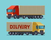 Camion, simbolo del camion o icona Consegna, trasporto, concetto della spedizione Illustrazione di vettore del fumetto Fotografie Stock