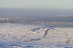 Camion solo nel paesaggio nevoso Immagine Stock Libera da Diritti