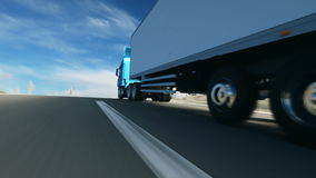 Camion sulla strada, strada principale Trasporti, concetto di logistica animazione realistica eccellente con moto dei physiks royalty illustrazione gratis