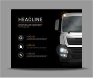 Camion sur l'illustration noire de vecteur de fond Photo stock