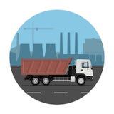 Camion sur le fond industriel Image stock