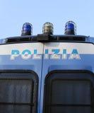 Camioncino italiano della POLIZIA con sirene Immagine Stock