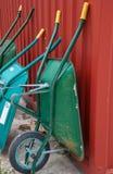 Camiones azules y verdes del trabajo foto de archivo libre de regalías