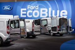 Camiones de Ford Transit EcoBlue Imagen de archivo libre de regalías