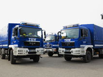 Camiones de la brigada de THW Fotografía de archivo libre de regalías