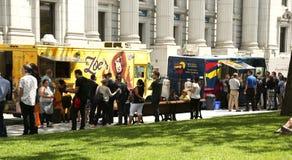Camiones de la comida en Montreal Imágenes de archivo libres de regalías