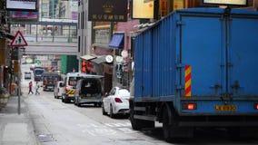 Camiones de reparto que vagan por a Hong Kong almacen de metraje de vídeo