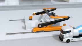 Camiones del mezclador concreto y la impresora industrial 3D libre illustration