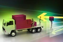 Camiones del transporte en entrega de la carga Foto de archivo libre de regalías