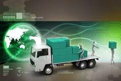 Camiones del transporte en entrega de la carga Foto de archivo