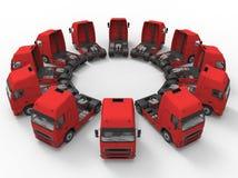Camiones dispuestos en un arsenal circular stock de ilustración