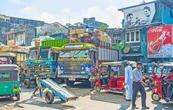 Camiones en el mercado de Pettah Fotografía de archivo