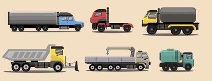 Camiones industriales de la carga del transporte Imágenes de archivo libres de regalías