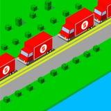 Camiones que conducen en la carretera Imágenes de archivo libres de regalías