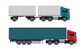 Camiones y semi-camiones del buque mercante de la entrega en el fondo blanco Imágenes de archivo libres de regalías