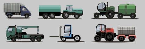 Camiones y tractores industriales de la carga del transporte Imágenes de archivo libres de regalías