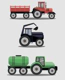 Camiones y tractores industriales de la carga del transporte ilustración del vector