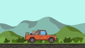 Camioneta pickup animada con las cajas en el montar a caballo del tronco a través del valle verde Coche de entrega móvil en paisa ilustración del vector