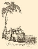 Camionete da ressaca na praia ilustração do vetor