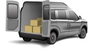 Camionete de entrega com caixas em um fundo branco Imagem de Stock Royalty Free
