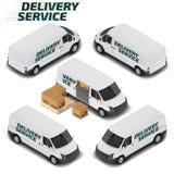 Camionete de entrega de alta qualidade isométrica do vetor Ícone do transporte Imagens de Stock Royalty Free