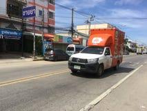 Camionete dos serviços de transporte da padaria do goldbread Foto de Stock Royalty Free
