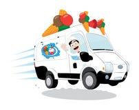Camionete engraçada do gelado conduzida por um homem amigável do gelado que cheering e que sorri Ilustração Royalty Free