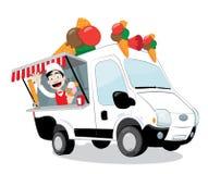 Camionete engraçada do gelado estacionada e homem amigável do gelado que serve um cone Ilustração Stock
