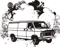 Camionete preto e branco illustrati Fotografia de Stock Royalty Free