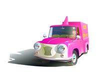 Camionete vermelho dos desenhos animados em um fundo branco Vetor ilustração royalty free