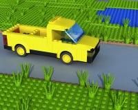 camionnette de livraison 3D jaune sur la route Photographie stock