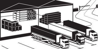 Camions chargeant des marchandises dans l'entrepôt Image stock