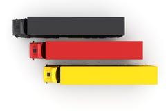Camions de logistique dans les couleurs Photographie stock libre de droits