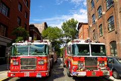 Camions des sapeurs-pompiers à New York Photo stock