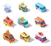 Camions et chariots isométriques de nourriture de rue Vente des hot-dogs et le café, la pizza et les casse-croûte 3d a isolé l'en illustration de vecteur