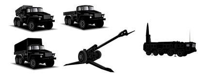 Camions militaires réglés Image stock