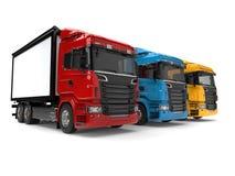 Camions modernes rouges, bleus et jaunes de transport illustration de vecteur