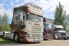 Camions superbes de Scania de Martin Pakos dans une exposition Photo libre de droits