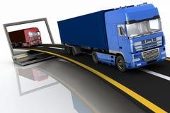 Camions sur l'autoroute sortant d'un ordinateur portable Photographie stock