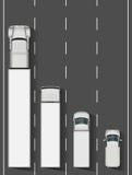 Camions sur l'illustration de vecteur de route Images libres de droits