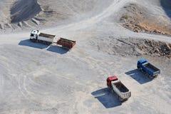 Camions sur le site Images stock