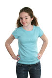 Camisa adolescente del azul de los modelos Fotos de archivo