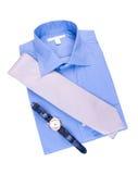 Camisa azul con el lazo y el reloj Foto de archivo