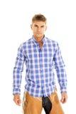 Camisa azul da manta do vaqueiro séria Fotos de Stock Royalty Free