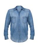 Camisa azul de la mezclilla en blanco foto de archivo