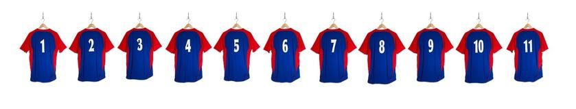 Camisa azul do futebol em seguido Foto de Stock