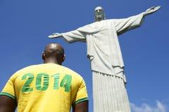 Camisa 2014 brasileira do jogador de futebol do futebol Corcovado Rio de janeiro imagens de stock